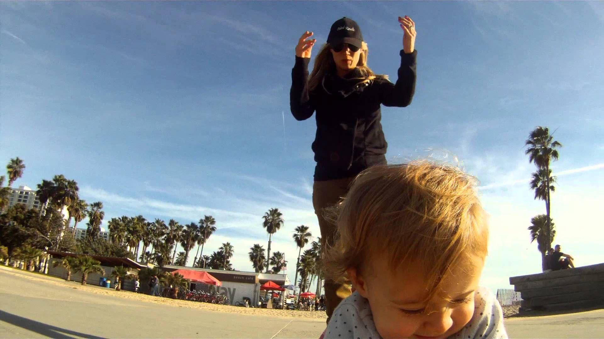 Ava on her skateboatd, GoPro