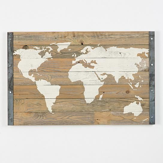 Buy industrial reclaimed wood world map by delhutsondesigns on dot delhutson designs wood bordered world map wall art gumiabroncs Choice Image