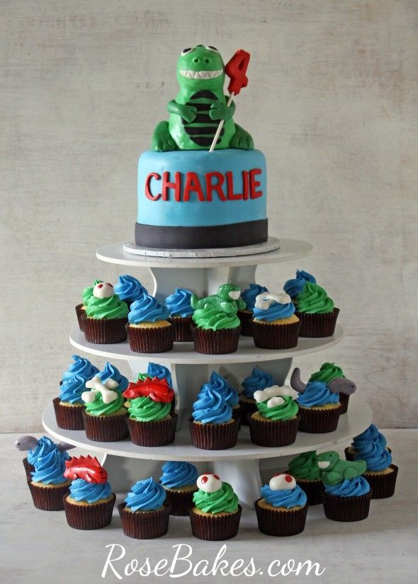 Dinosaur Party T Rex Cake And Cupcake Tower