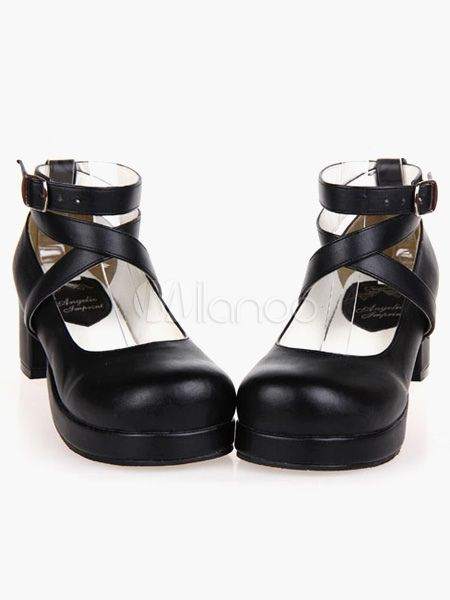 Punk Lolita Footwear Square Toe Plataforma Lace Up Chunky Heel Black Lolita Zapatos B512v5VI