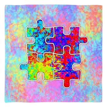 Autism Colorful Puzzle Pieces Bandana from Jan4insight Designs on CafePress > SOLD a banadanna, 7.11.14