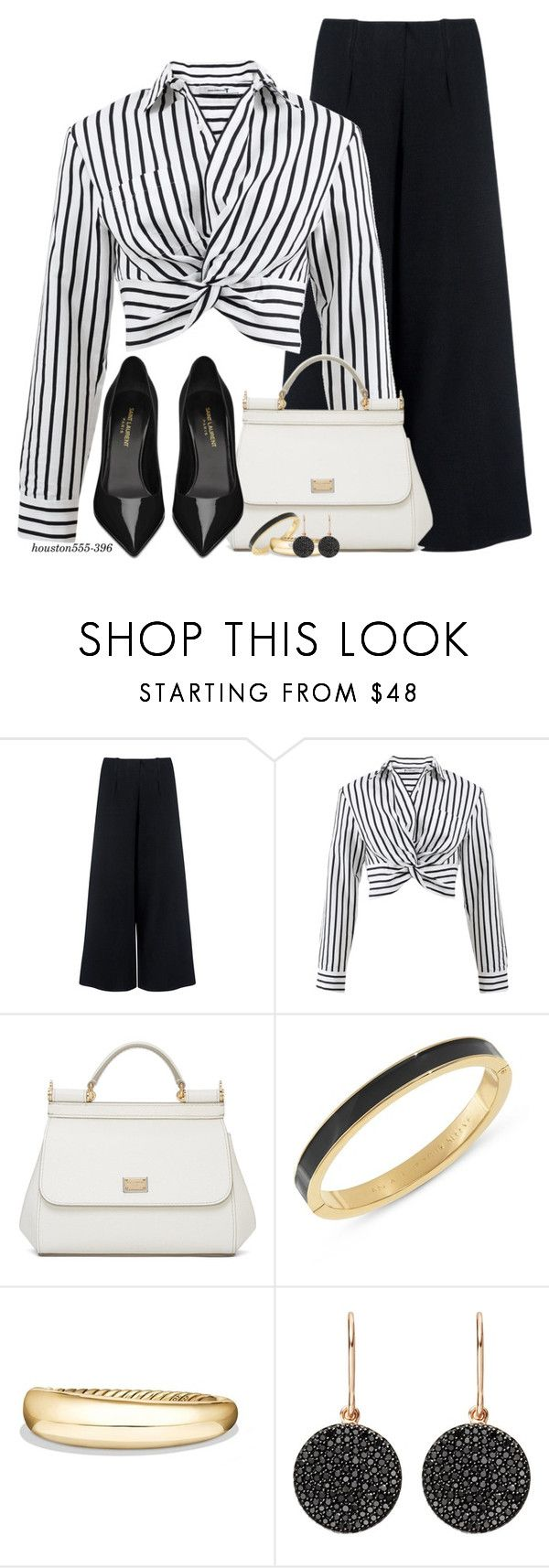 """Black & White"" by houston555-396 ❤ liked on Polyvore featuring C/MEO COLLECTIVE, T By Alexander Wang, Dolce&Gabbana, Kate Spade, David Yurman, Astley Clarke and Yves Saint Laurent"