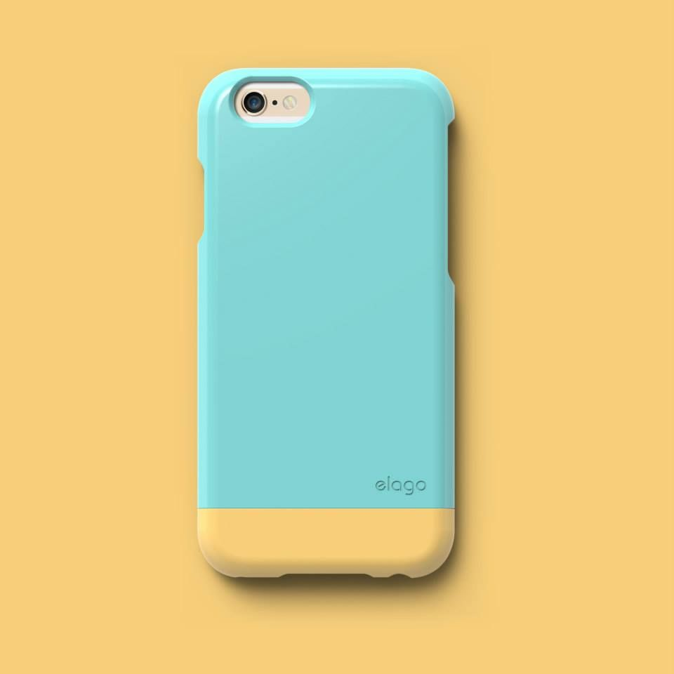 elago S6 Glide Case for iPhone 6. Coral Blue / Creamy Yellow