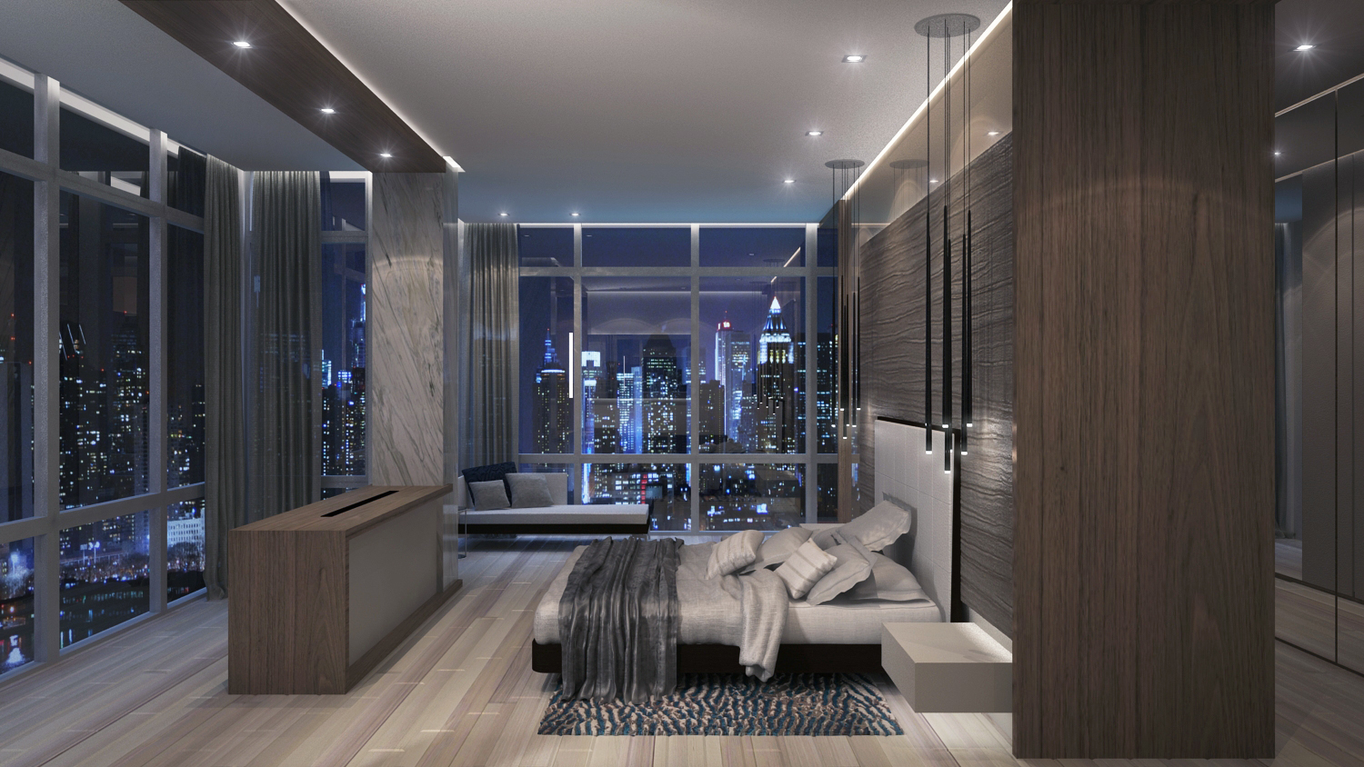 New York Penthouse Master Bedroom 1 Pepe Calderin Design