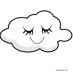 This Is A Really Cute Image Of A Sleeping Cloud With Closed Eyes Clip Art Free Clip Art Art