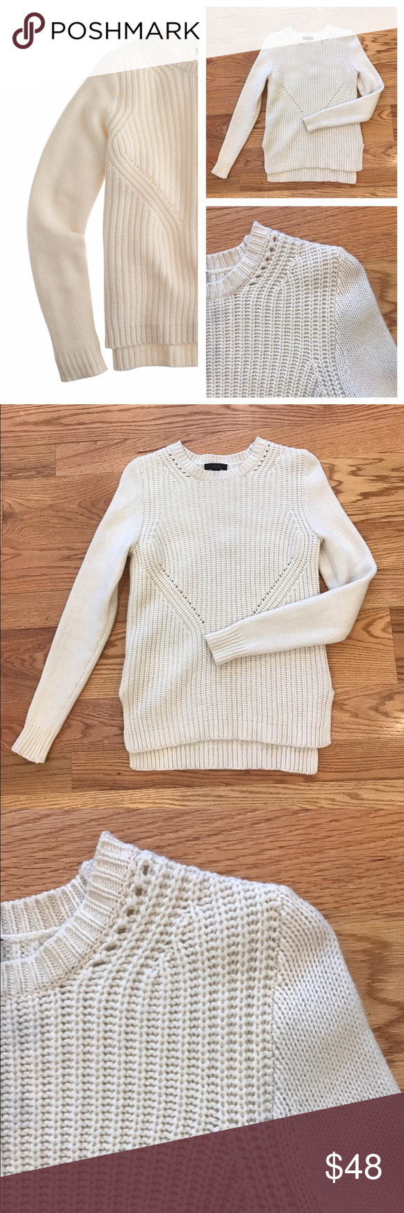 J. Crew Lambswool Pointelle Sweater Cream J. Crew Lambswool sweater in an intricate pointelle knit. Size small. In excellent condition. Feel free to ask any questions below or make me an offer! J. Crew Sweaters Crew & Scoop Necks