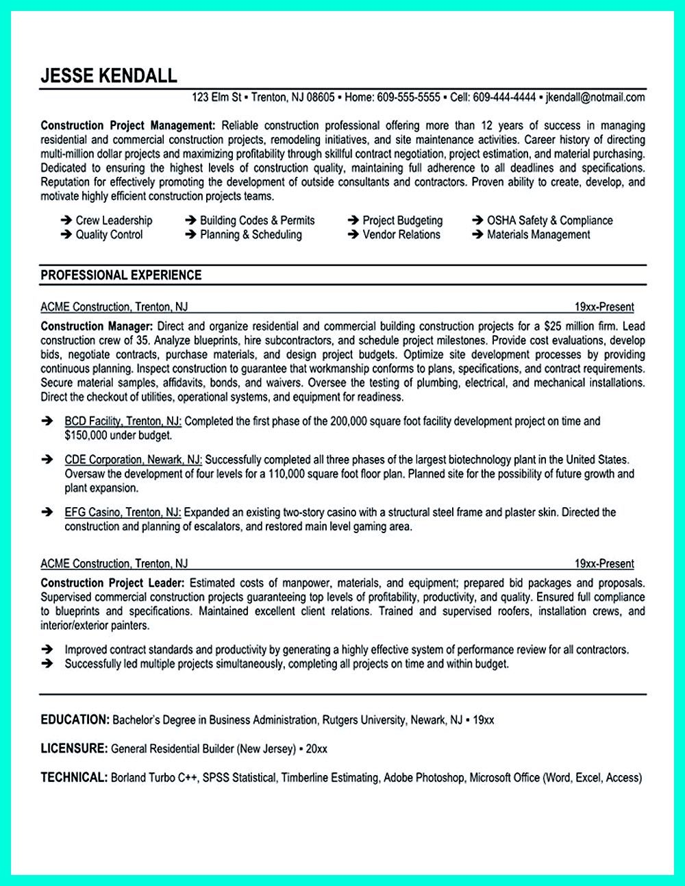 Manager Resume Construction Project Manager Resume For Experienced One Must Be