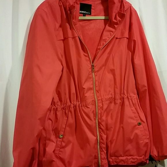 Jacket Fun coral rain jacket great for the summer. Water repellent with hood and drawstrings. Jackets & Coats Utility Jackets