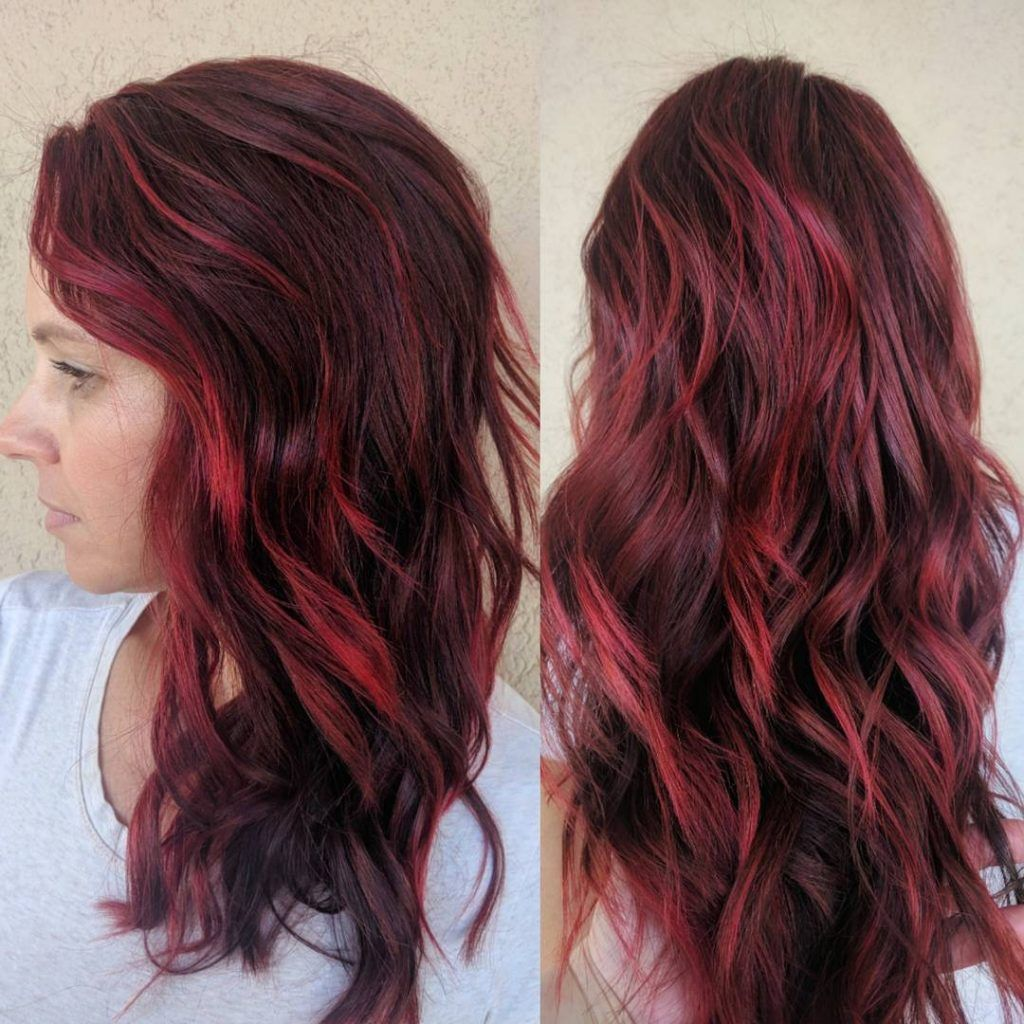 Brown Hair With Red Highlights In 2020 Red Highlights In Brown Hair Brunette Hair Color Red Brown Hair