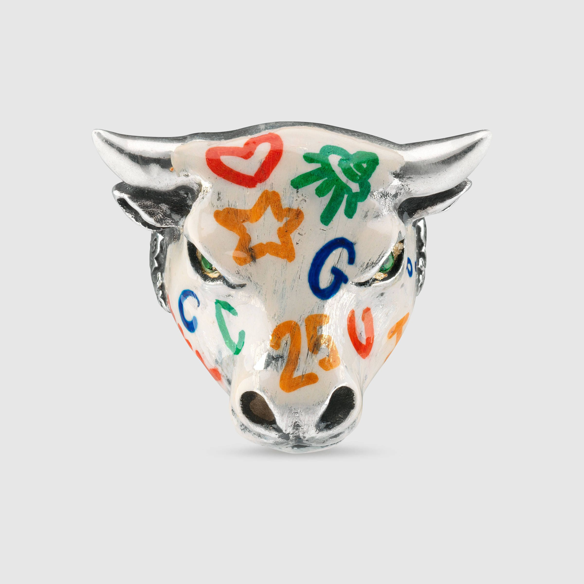 1c5ea4ce6 Gucci Anger Forest enameled bull's head ring € 470 | Bling Ring ...