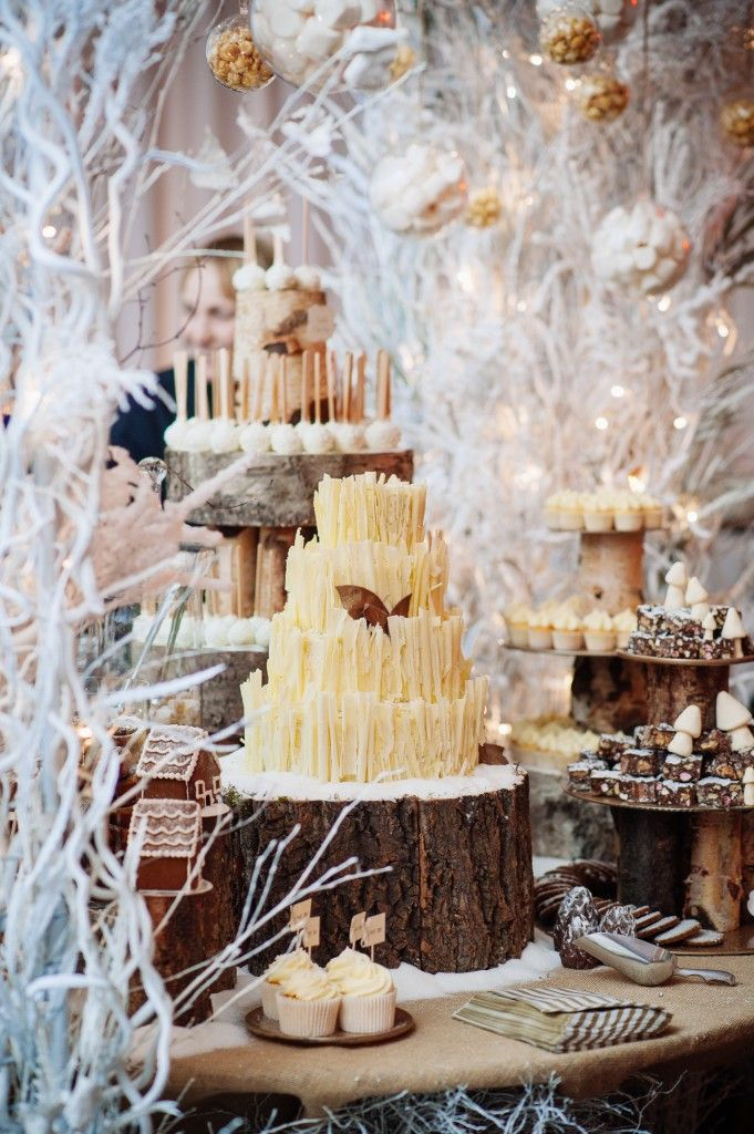 Winter Woodland Snow Themed Wedding Cake Food Drink Pinterest
