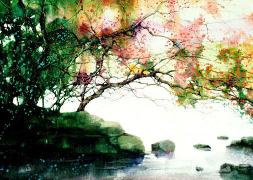 Watercolor Forest Landscape Watercolor Landscape Watercolor