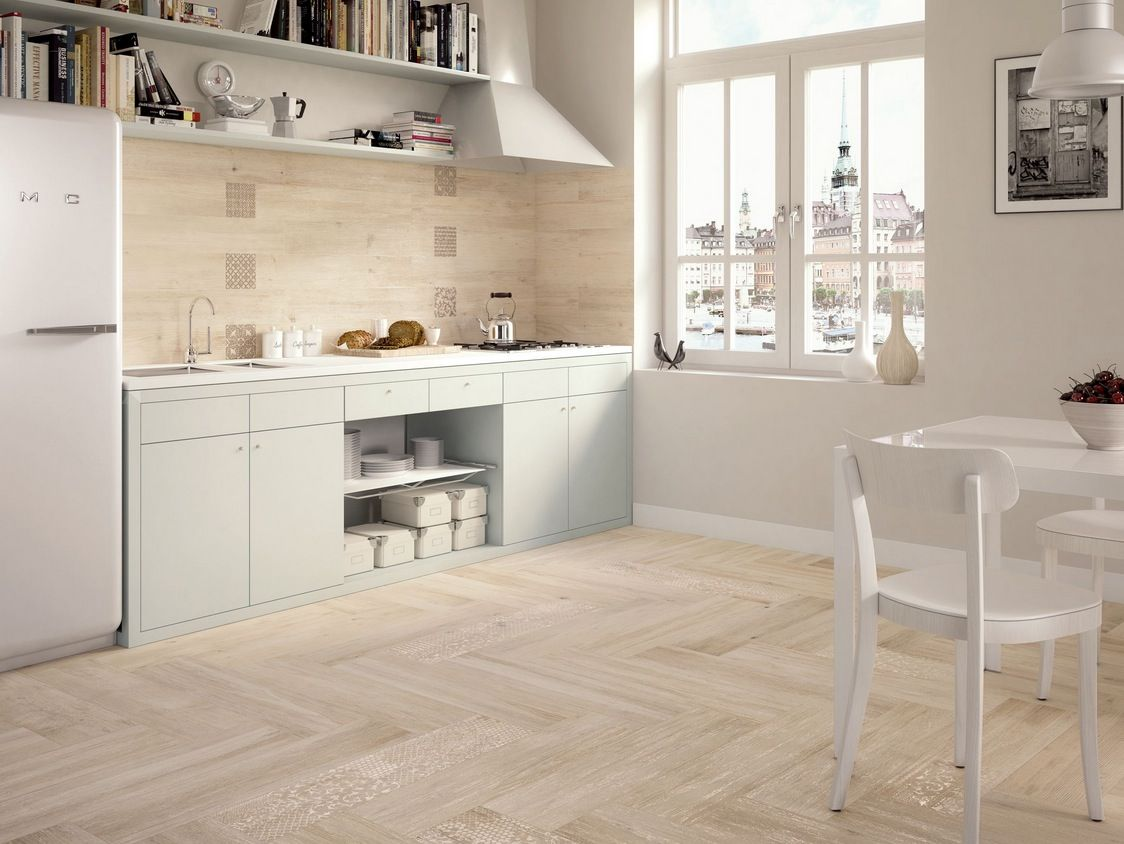 White Kitchen Tile Floor Ideas wood look tile | light wooden tiled kitchen splashback and floor