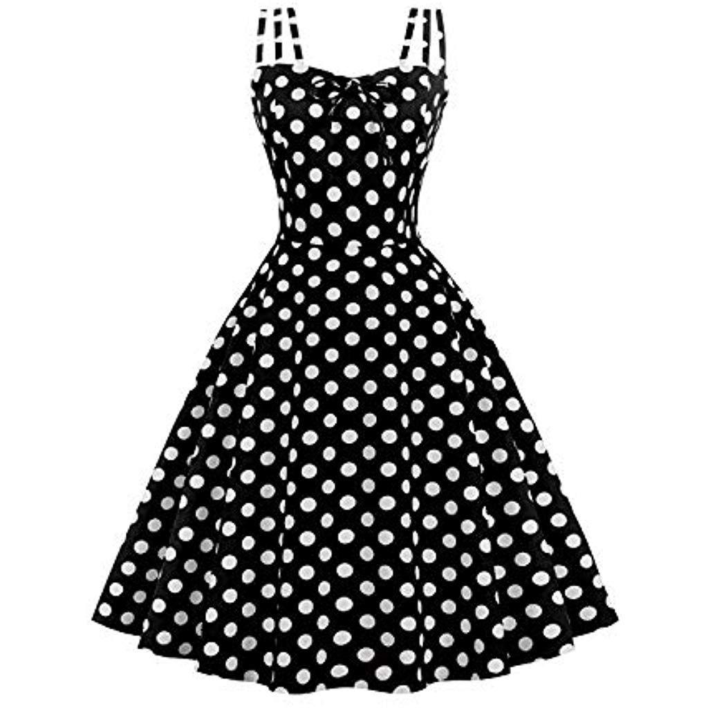 MisShow Damen 15er Jahre Kleid Vintage Rockabilly Kleid