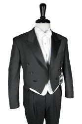 Cardi Mens Super 150s Luxury Viscose 6 Button Peak Satin Lapel Tail Coat Tuxedo