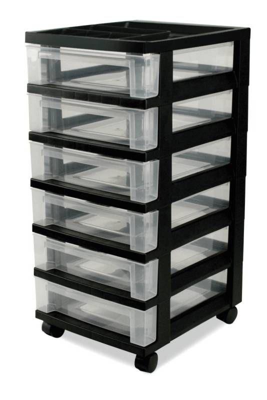 Iris Medium 6 Drawer Storage Box Black Frame With Clear Drawers Storage Drawers Rolling Storage Drawers