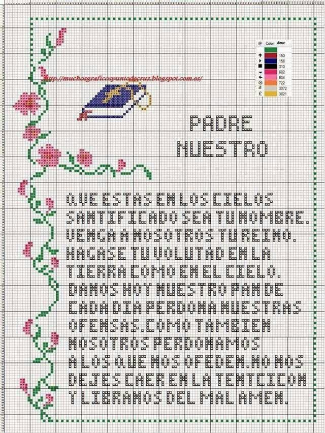 Padre Nuestro | Bible | Pinterest | Punto de cruz, Graficos punto de ...