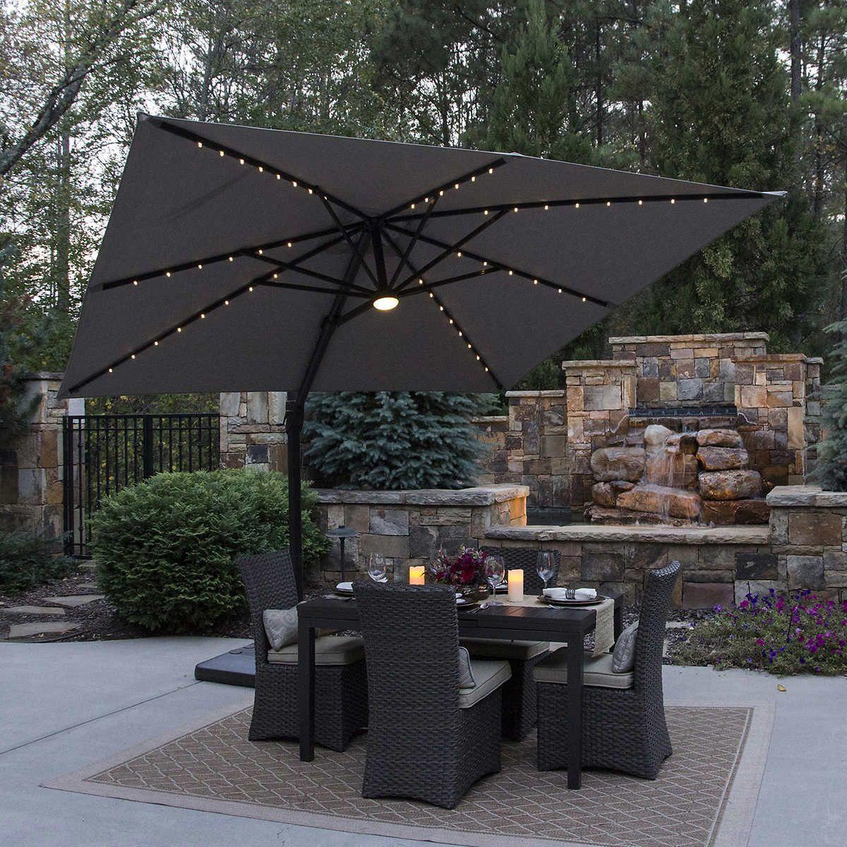 solar powered lit patio umbrella
