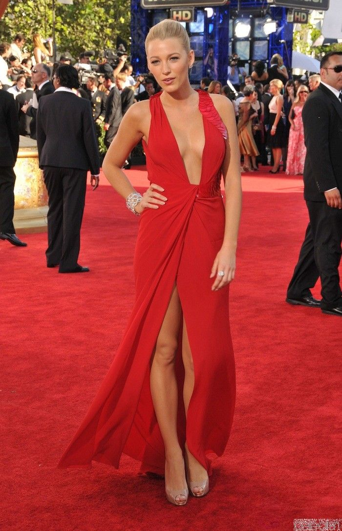 Blake Lively Red Prom Dress Emmy Awards 2009 Red Carpet Dress  3e58f4377