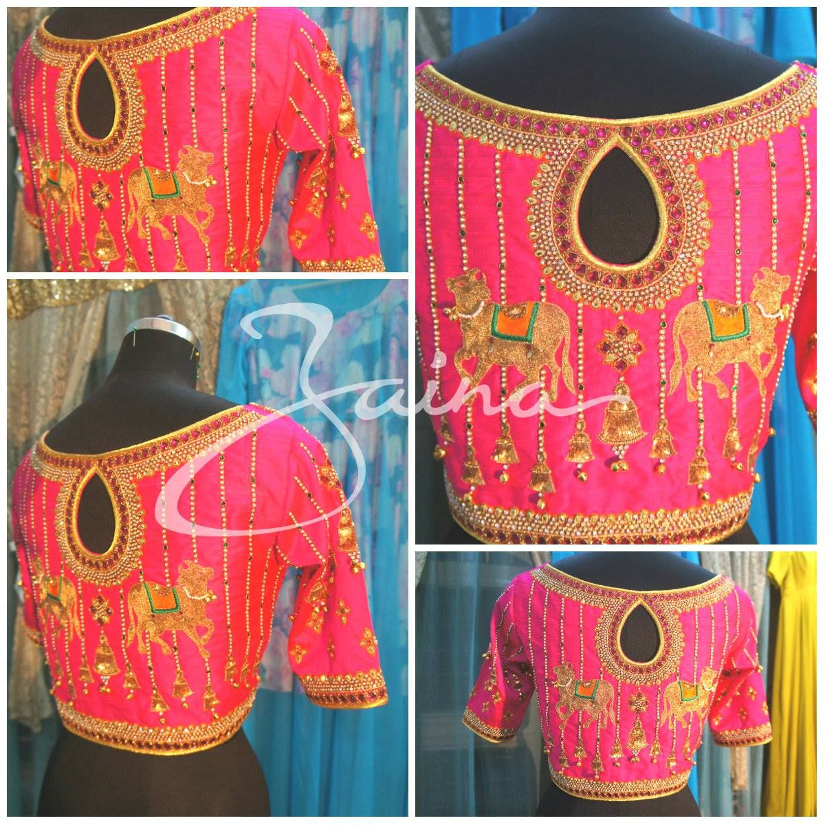 Beautiful pink color designer blouse with cow and hanging bells ...