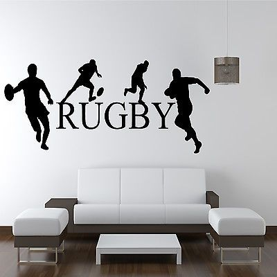 Rugby players wall art sticker boys sport bedroom transfer for Boys rugby bedroom ideas