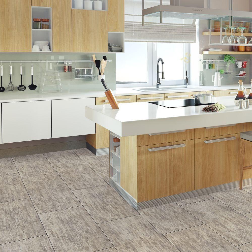 TrafficMASTER Allure Brushed Wood Greige Resilient Vinyl Tile Flooring   4  In. X 4 In