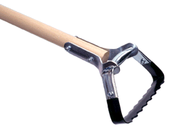 """Scuffle Hoe: Called by many names: Stirrup Hoe, Appalachia Hoe, Hula Hoe, Scuffle Hoe, etc., this classic design garden tool should be in your collection. The stirrup shaped blade is sharpened on both sides so it cuts roots just below the soil on the push and pull stroke. The blade angle and 54"""" hardwood handle allow you to stand practically straight, so it is easier on your back."""
