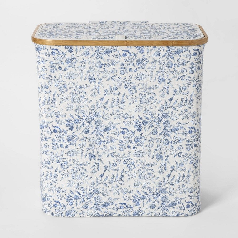 Soft Sided Laundry Hamper With Bamboo Rim Lid Floral Blue