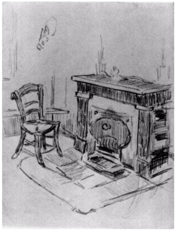 Mantelpiece with Chair  Vincent van Gogh Drawing, Pencil, black chalk Saint-Rémy: March - April, 1890