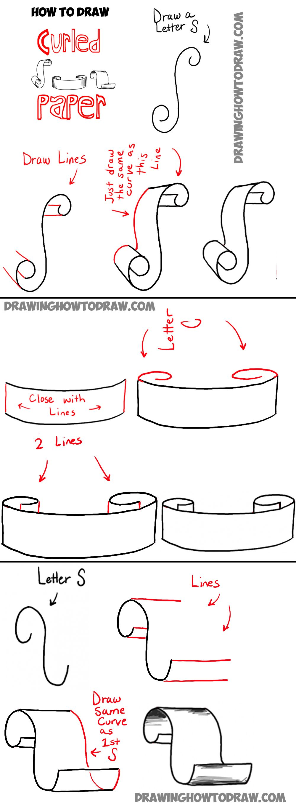 How To Draw Paper Curls Or Curled Paper Scrolls Or Banners In Easy Steps Tutorial How To Draw Step By Step Drawing Tutorials Banner Drawing Bullet Journal Inspiration Planner Bullet Journal