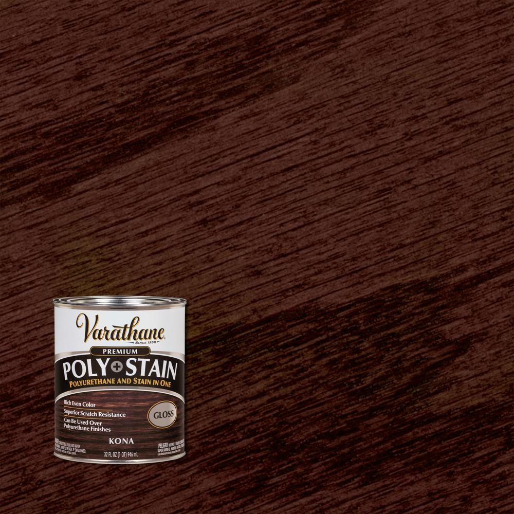 Varathane 1 Qt Kona 450 Gloss Oil Based Interior Wood Stain And Polyurethane 2 Pack Interior Wood Stain Varathane Stain Java Gel Stains