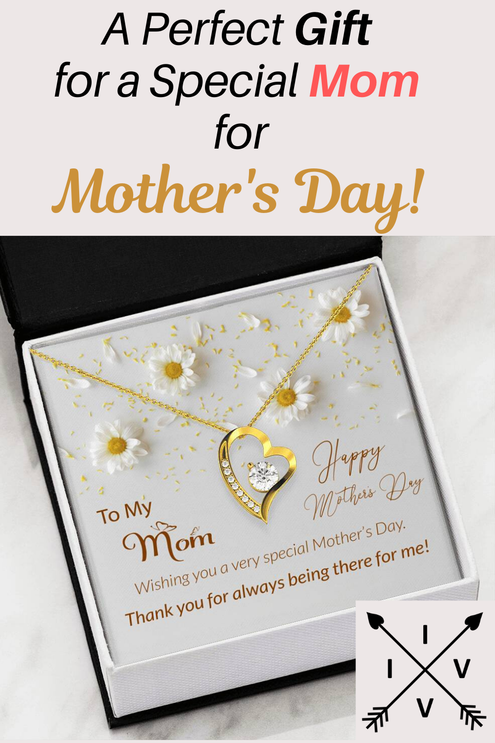 White Flowers Mother's Day Heart Pendant Necklace