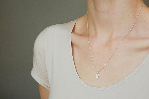 Photo of Sterling Silver Hand necklace, Hamsa Hand Necklace, Tiny Sterling Silver Necklace, Gift For Girlfriend, Gift For Her, Gift For Woman, Petite
