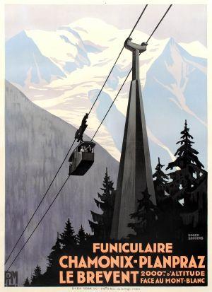 Chamonix Planpraz Le Brevent Cable Car PLM Art Deco Roger Broders