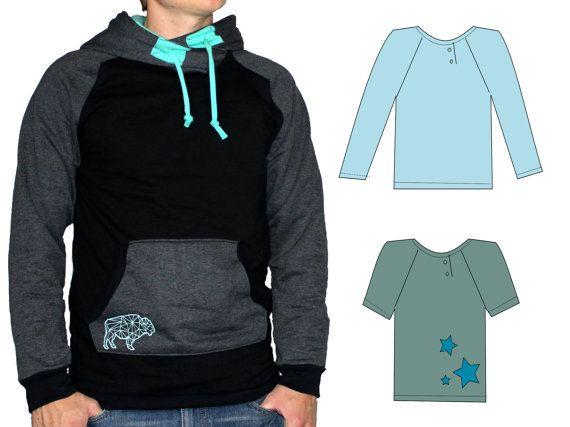 fb95fab6ed1 eBook hommes chemise pull PDF patrons et instructions de couture -  AnniNanni homme T-shirt - hooded sweater - Sweat à capuche - longue chemise