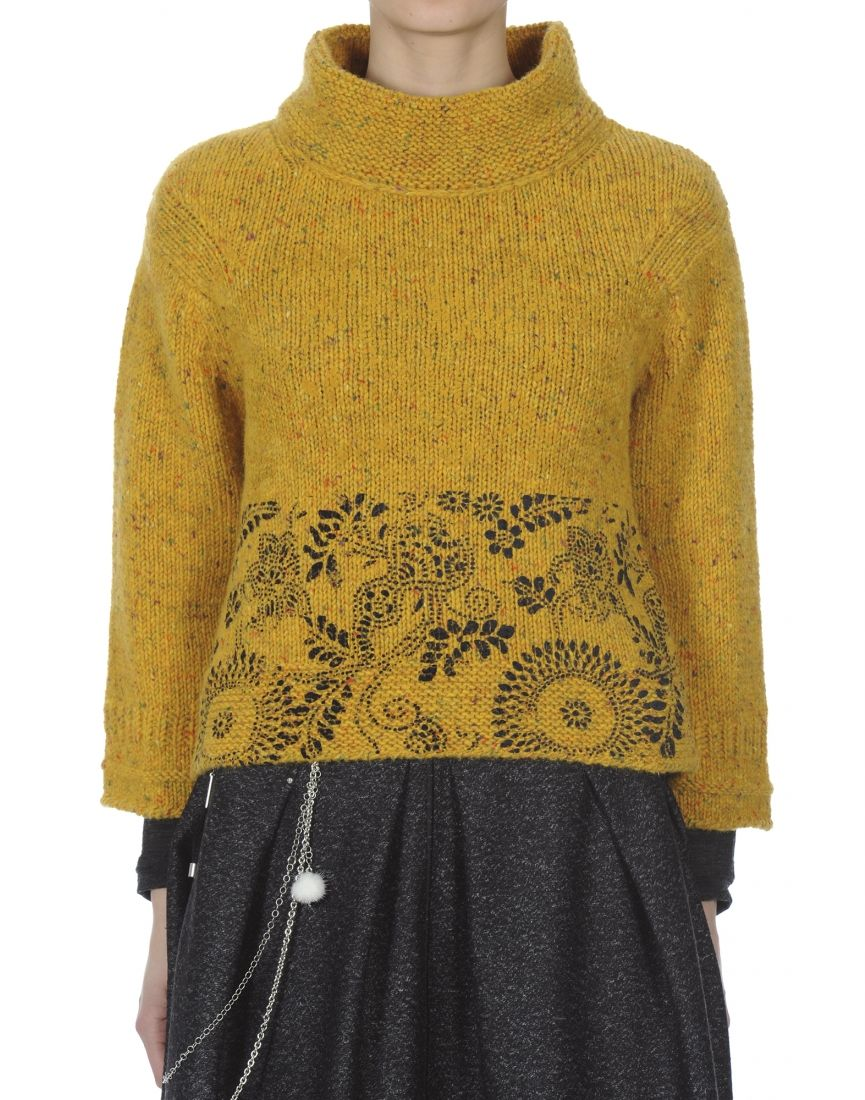 Klimt Mustard Donegal Tweed Flock Sweater High