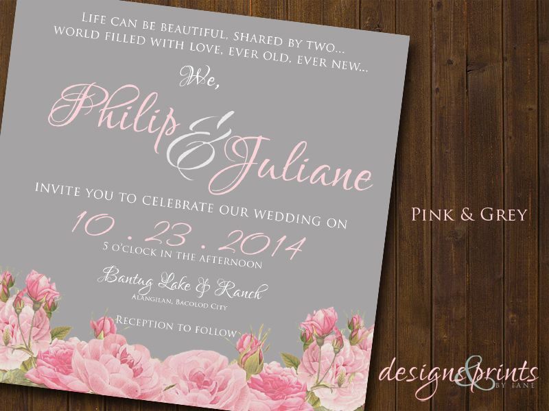 Pink and Grey Motif Wedding Invitation | Wedding Invitations ...