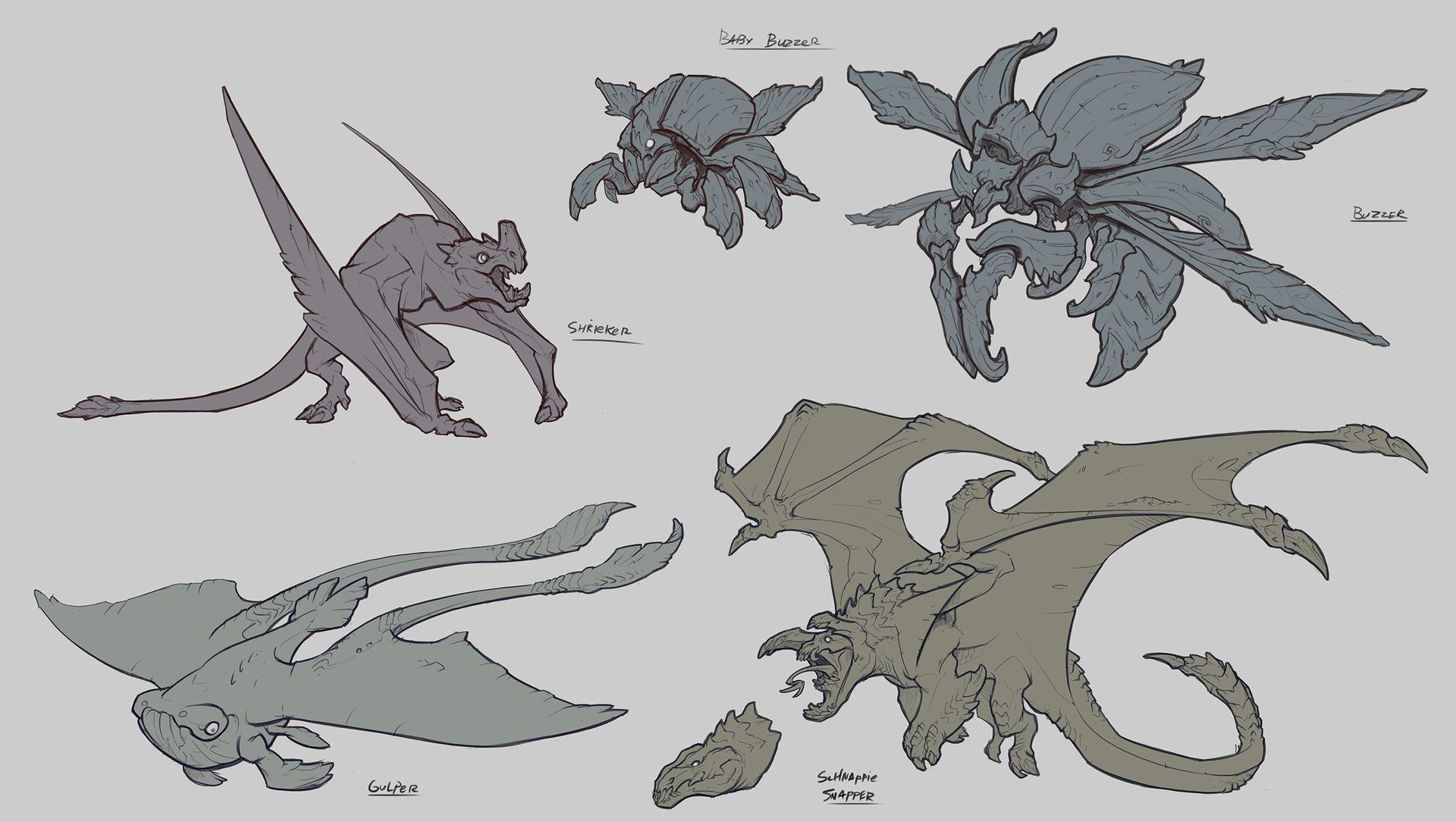 Line Drawing Monster : Artstation flying creatures baldi konijn monster