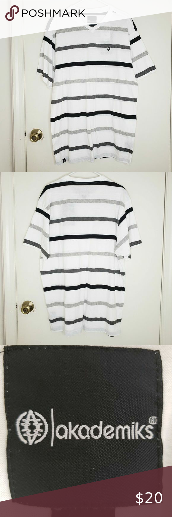 Akademiks T-Shirt Men's Striped 2XL White V-Neck Akademiks T-Shirt Men's Striped 2XL WHITE Throwback Retro Urban Streetwear USA   White/Gray/Black Stripe Pattern Size Men's 2XL XXL 2X V-Neck Cotton/Poly Blend Rap Hip/Hop 90s Inspired Brand Akademiks  Please review photos and ask any questions about the item before buying.   Thank you for your business and should you have any questions, please do not hesitate to ask.   ~ Lightning Fast Shipping ~  ~ Sold as Shown ~ Akademiks Shirts Tees - Short S