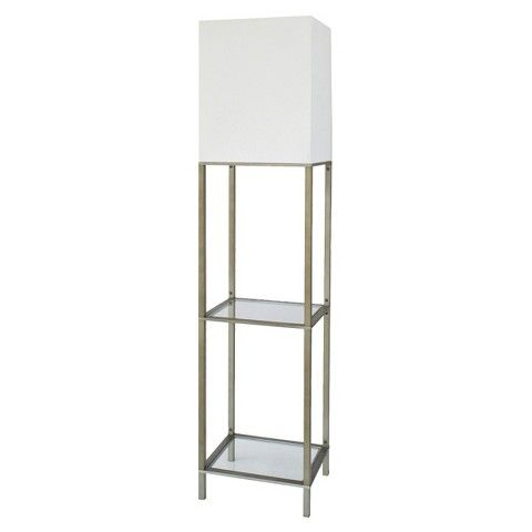 Threshold Floor Lamp With White Shade And Glass Shelves