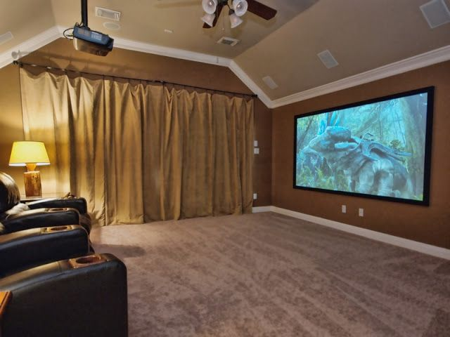 Upstairs Media Room Curtain Idea Is Good To Hide My Gym Equipment