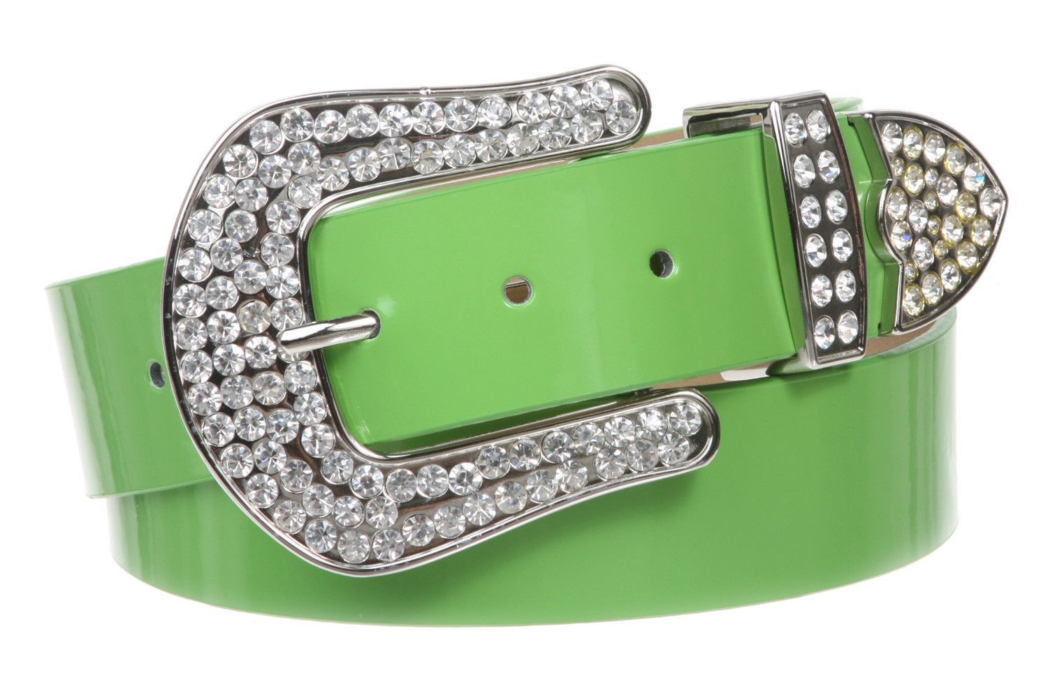 1 1/2 (38 MM) Snap On Western Rhinestone Plain Faux Patent Synthetic Leather Belt