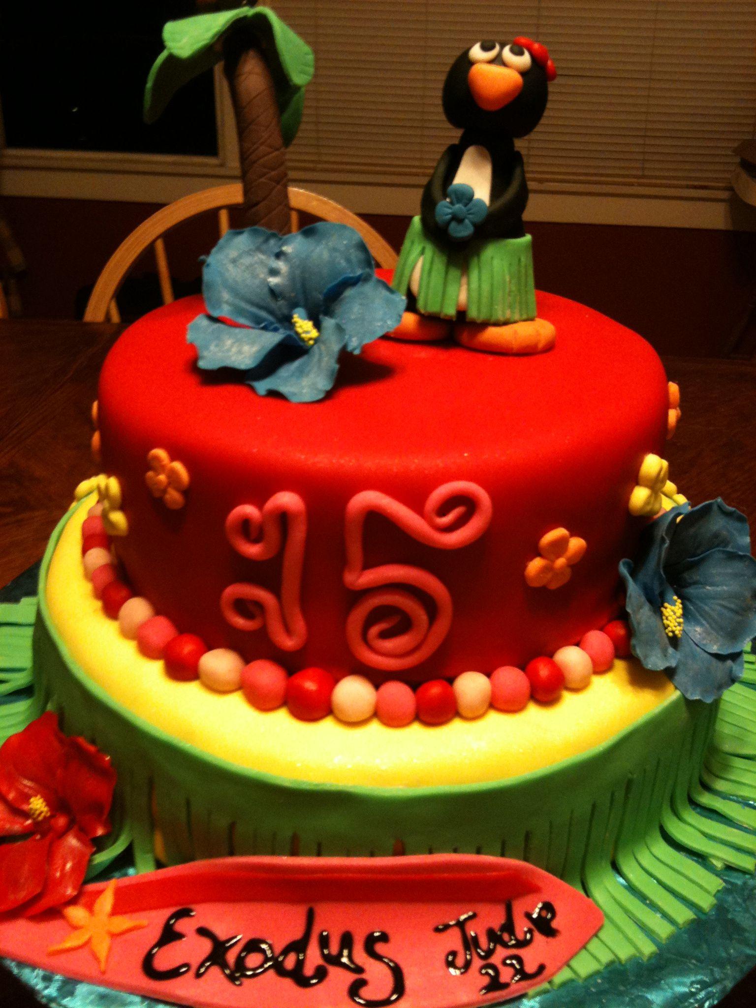 Hawaiian birthday cake penguin topper palm tree and
