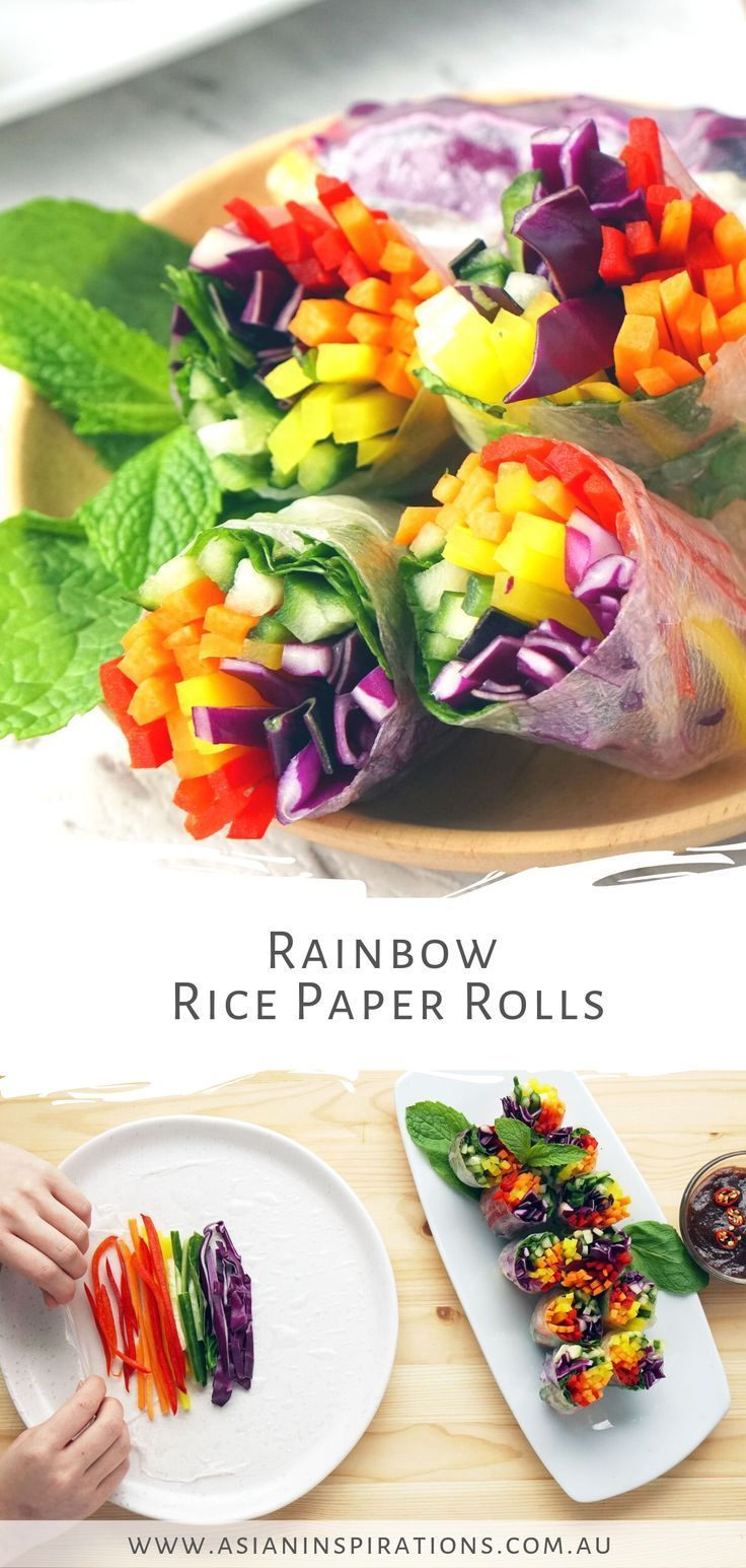 Fresh, healthy and vegan-friendly Rainbow Rice Paper Rolls with peanut hoisin sauce. Get this super