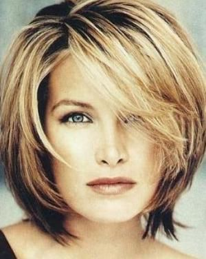 med haircuts for women over 50 | Medium length layered with bangs ...