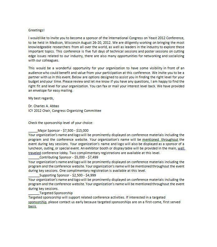 Sponsorship Letter Template 15   nationalgriefawarenessday