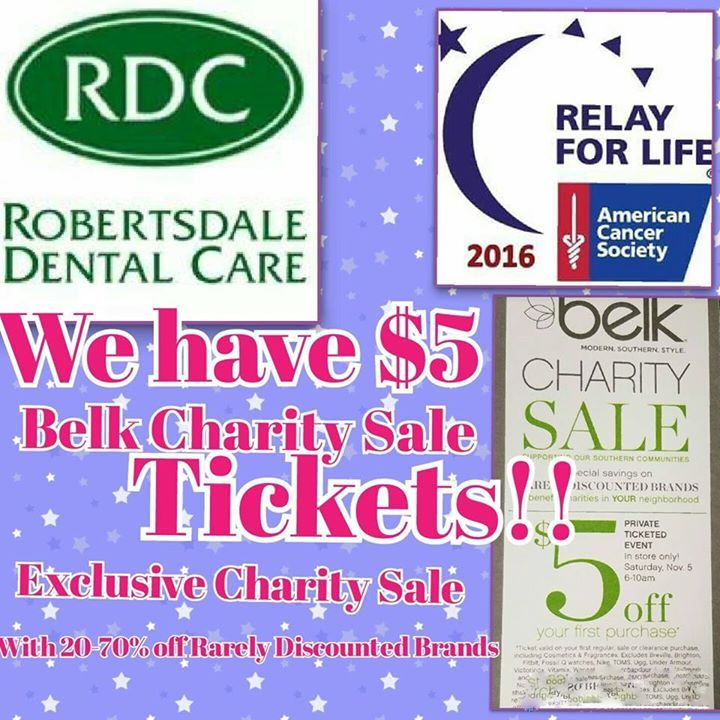 Come by the office to pick up your 5 belk charity sale