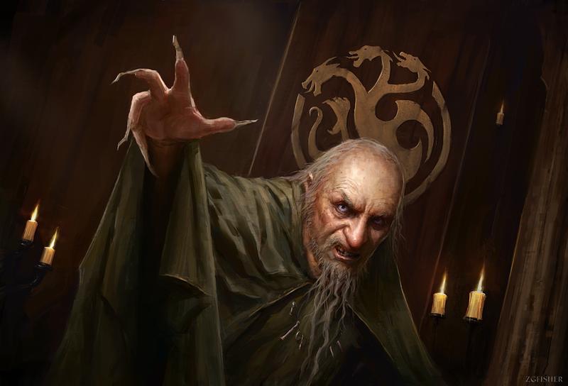 """The Mad King"", por Z. G. Fisher. Aerys II foi o expoente mais famoso da loucura Targaryen."