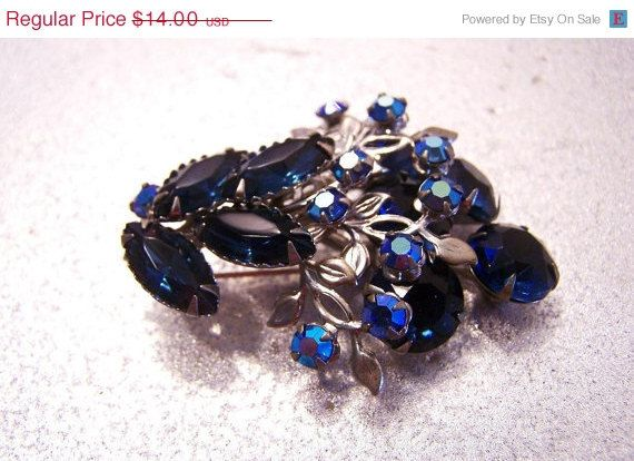Vintage Blue Rhinestone Floral Bouquet Brooch by JewelsAndMyGirls3, $8.40