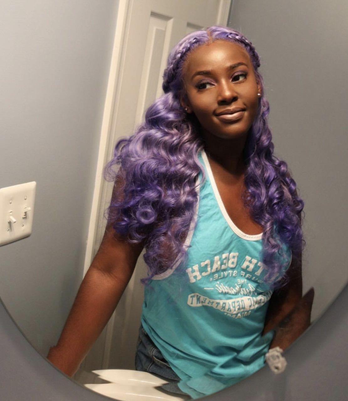 Idea By Fadedwigbae On Tooblackforwhat Purple Hair Black Girl